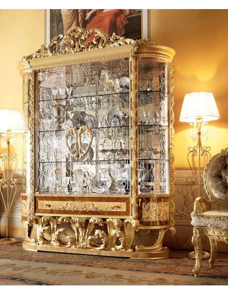 Breakfronts & China Cabinets Empire Collection, Large Rounded Glass Display Cabinet