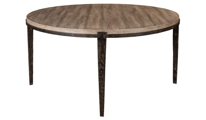 ROOM FURNITURE Transitional Style Solid Wood Round Dining Table