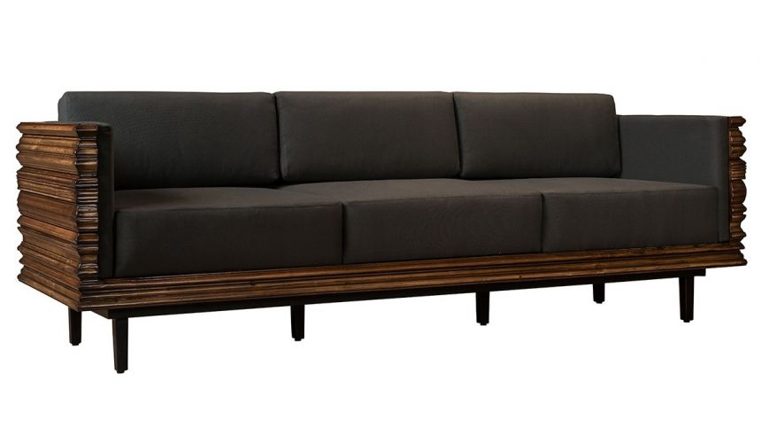 Luxury Leather & Upholstered Furniture Solid wood wavy frame modern style sofa