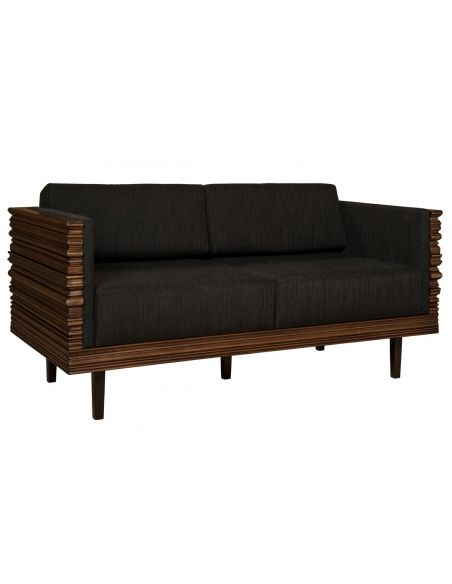 Luxury Leather & Upholstered Furniture Solid wood wavy frame modern style love seat
