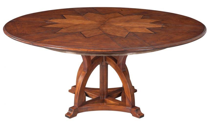 Dining Tables 84 Jupe table self storing leaves, walnut, white oak center detail.