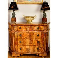 1 European inspired chest of burl wood.