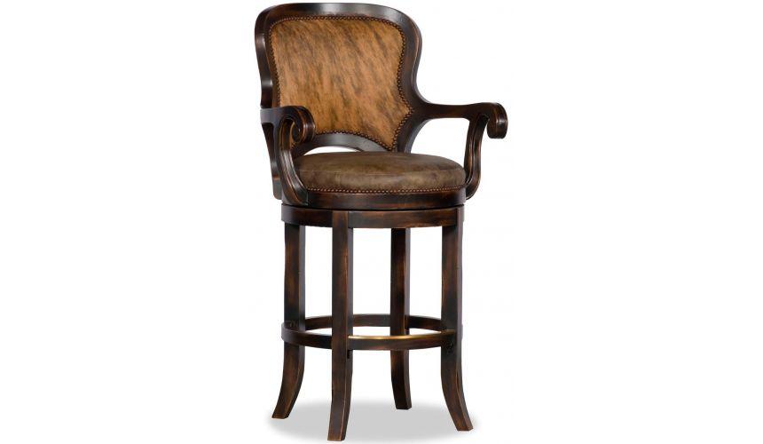 Upscale Bar Furniture Black and tan hair on hide bar stool