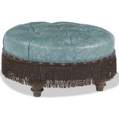 Blue Ottoman with Brown Fringe