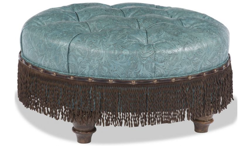 Luxury Leather & Upholstered Furniture Blue Ottoman with Brown Fringe