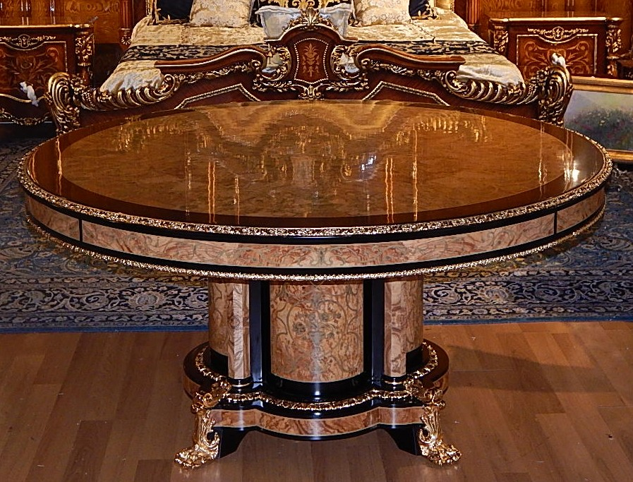 High end dining table king louis collection boulle marquetry work - King furniture dining table ...
