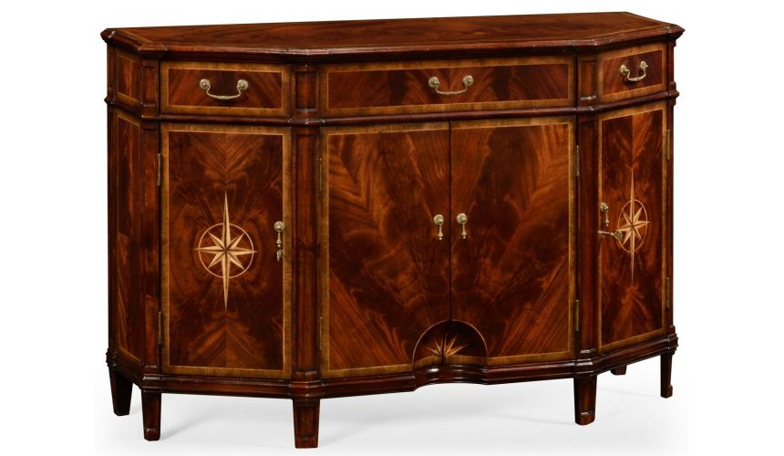 Breakfronts & China Cabinets Crotch Mahogany Wood Side Cabinet