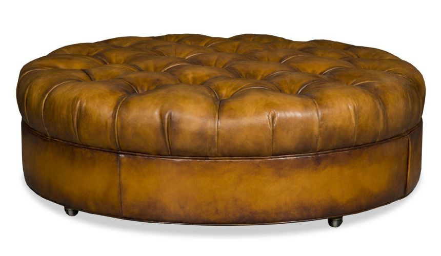 OTTOMANS Round leather tufted ottoman