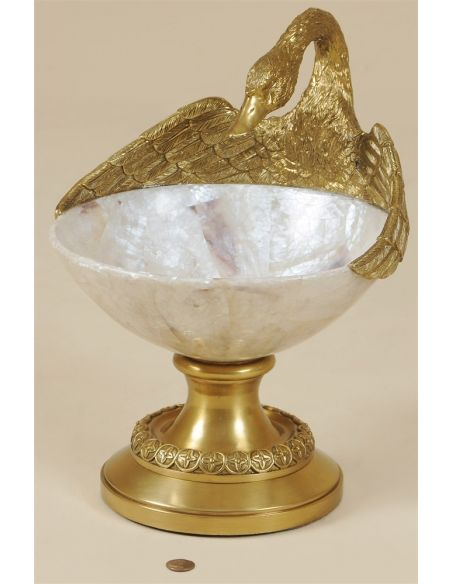Decorative Accessories Cast Brass Swan Accent Bowl