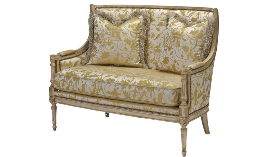 Luxury Leather & Upholstered Furniture Carved wood frame love seat
