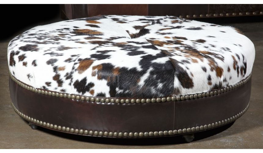 Luxury Leather & Upholstered Furniture Western hair hide Ottoman. Luxury Furniture. 563