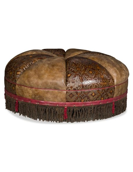 OTTOMANS Round leather ottoman with embossed leather and fringed detail
