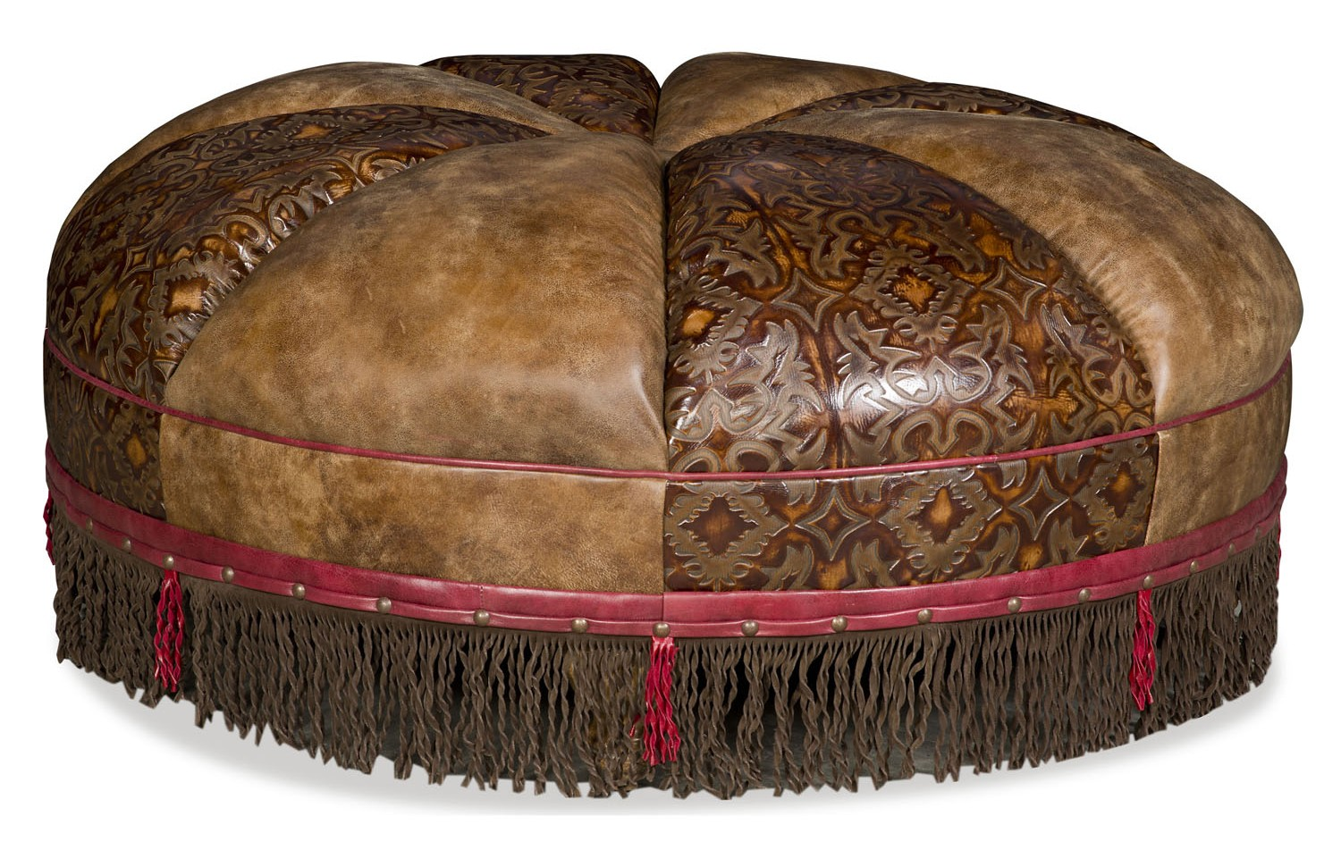 Round leather ottoman with embossed leather and fringed detail - What is an ottoman used for ...