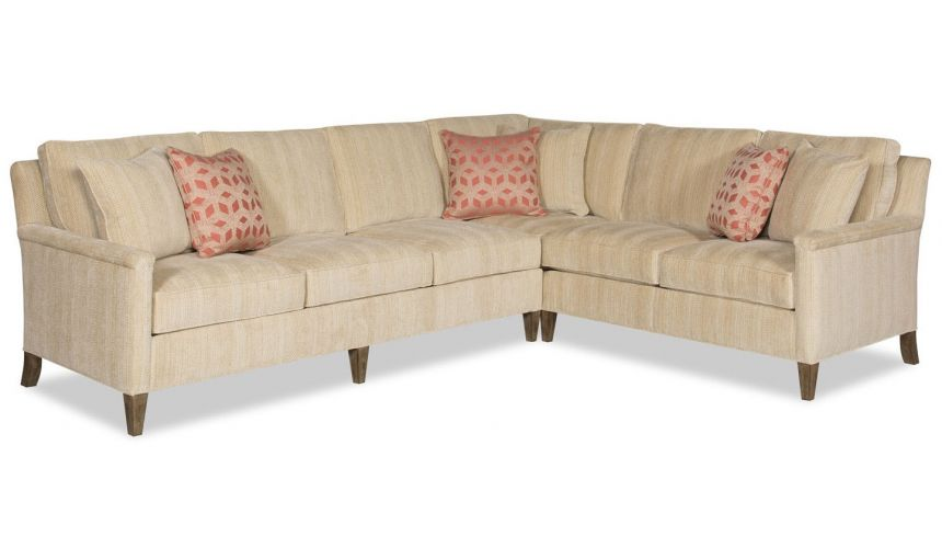 """SECTIONALS - Leather & High End Upholstered Furniture Elegant \\""""L\\"""" shaped 2 piece sectional sofa"""
