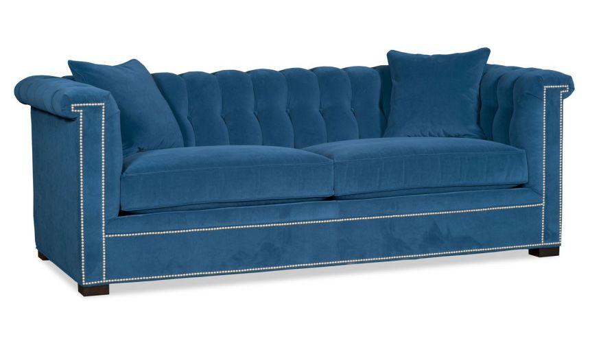 SOFA, COUCH & LOVESEAT Modern peacock blue velvet sofa