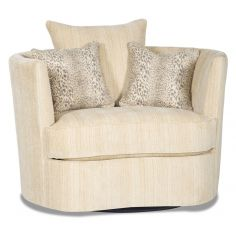 Barrel style swivel chair in a chic ivory fabric