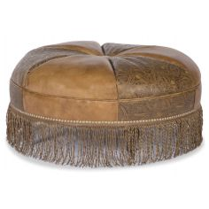 Leather fringed ottoman