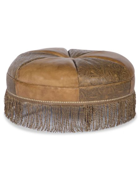OTTOMANS Leather fringed ottoman