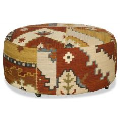 Round tapestry ottoman