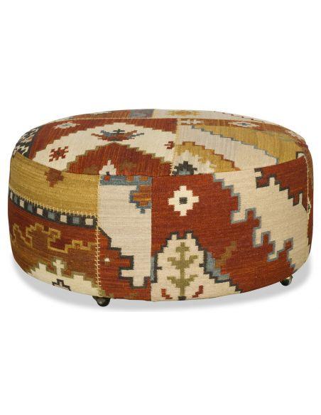 OTTOMANS Round tapestry ottoman
