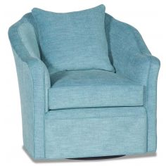 Sky blue barrel style swivel chair