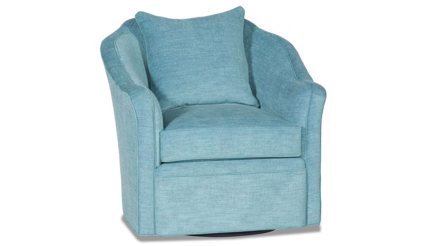 MOTION SEATING - Recliners, Swivels, Rockers Sky blue barrel style swivel chair