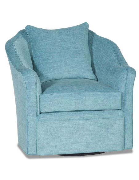 MOTION SEATING - Recliners, Swivels, Rockers Sky blue barrel style swivel chair