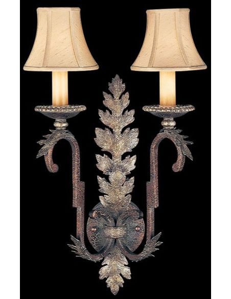 Lighting Wall sconce in tortoised leather crackle finish with stained silver leaf accents