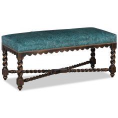 Gorgeous blue embossed leather bench