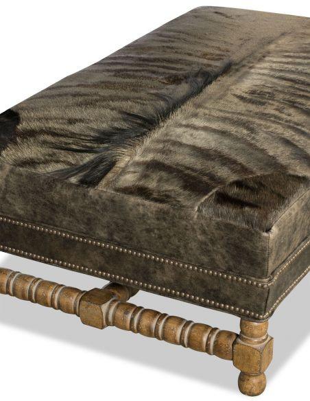 OTTOMANS Unique leather and fur ottoman