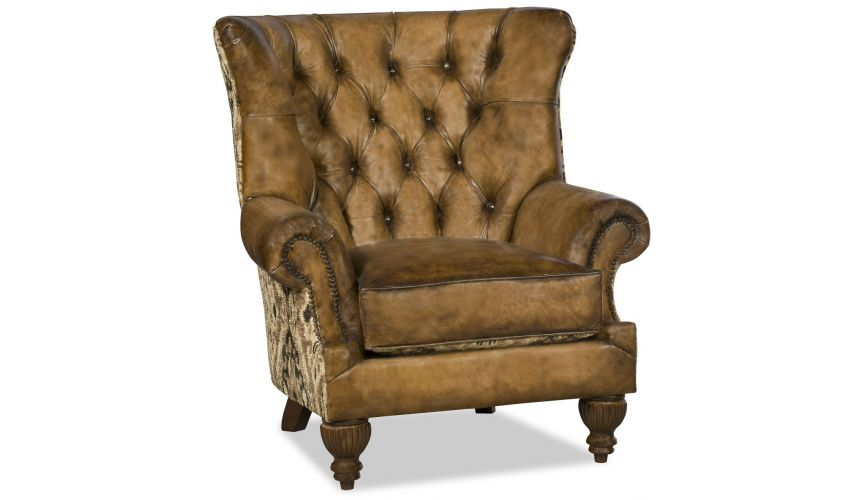 CHAIRS, Leather, Upholstered, Accent Luxurious leather wing backed chair with tufted back