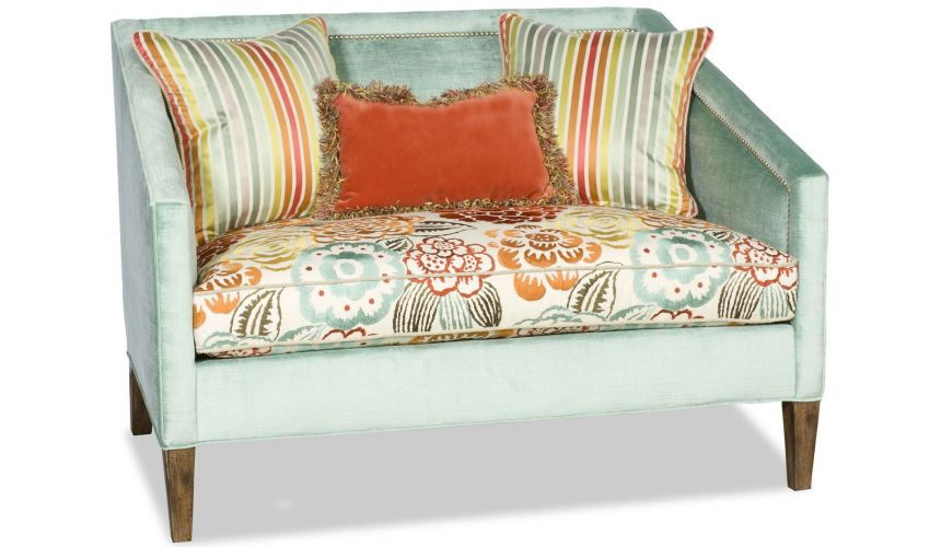 SETTEES, CHAISE, BENCHES Elegant light blue settee