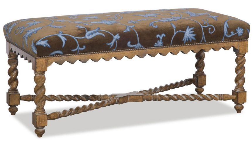 OTTOMANS Intricately carved bench