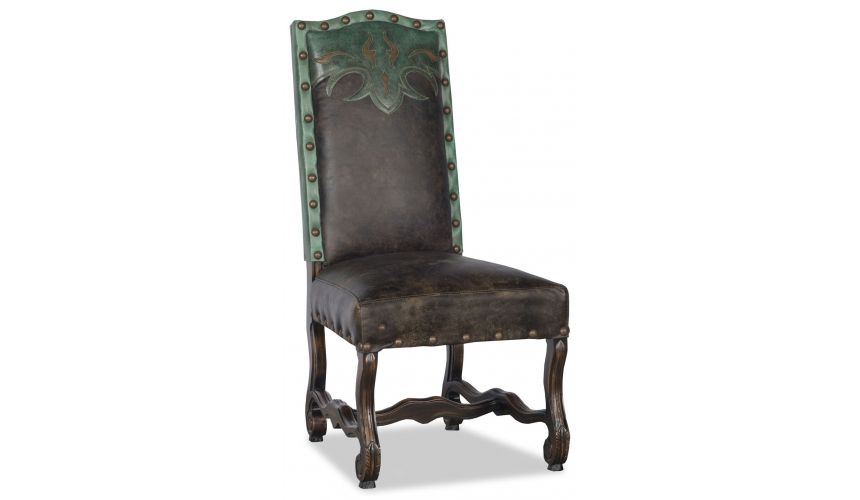 Dining Chairs Western style leather dining room chair