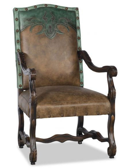 Dining Chairs Western style leather dining room chair with arms