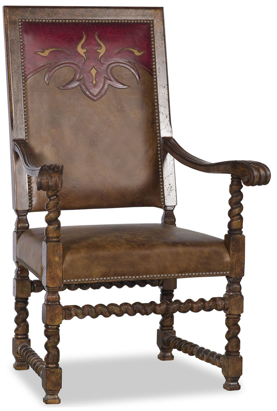 Western style leather dining room chair with arms for Leather dining chairs with arms
