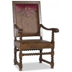 Western style leather dining room chair with arms