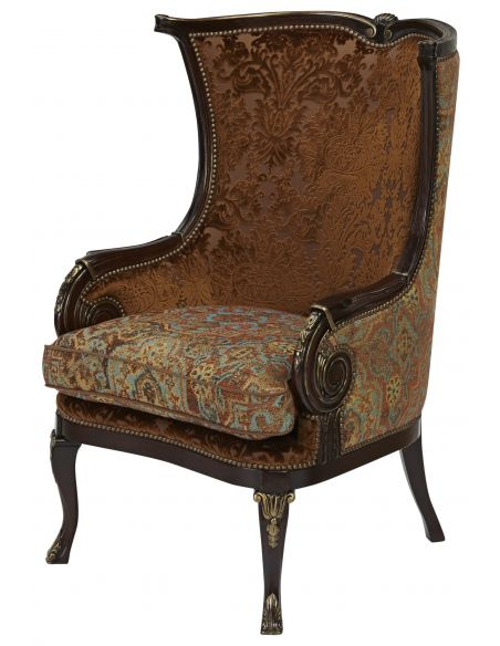 CHAIRS, Leather, Upholstered, Accent Eclectic accent chair
