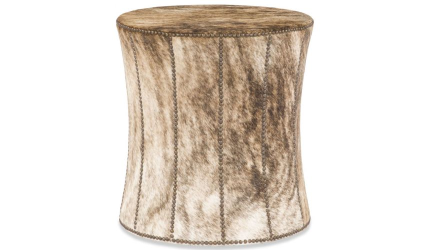 Luxury Leather & Upholstered Furniture Animal Print Foot Stool