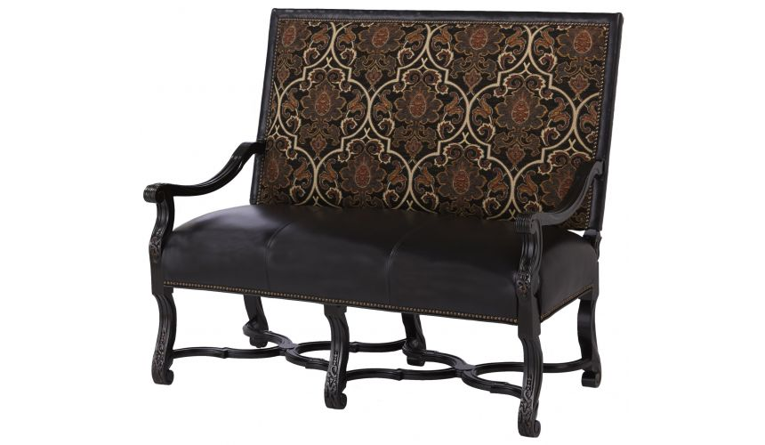SETTEES, CHAISE, BENCHES High back bench chair with interesting leather and fabric details