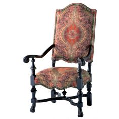Unique and fancy carved wood frame tall back arm chair