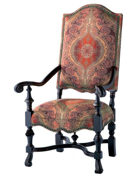CHAIRS, Leather, Upholstered, Accent Unique and fancy carved wood frame tall back arm chair
