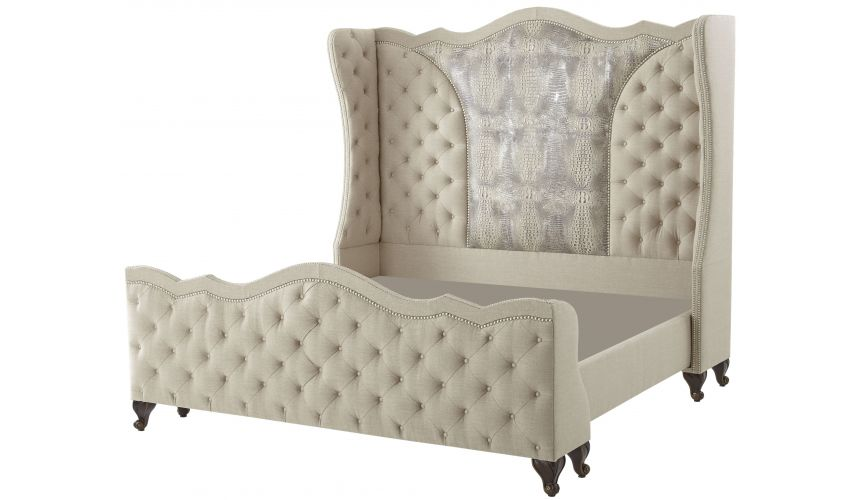 BEDS - Queen, King & California King Sizes High style bed with tufted head board and foot board with albino gator hide