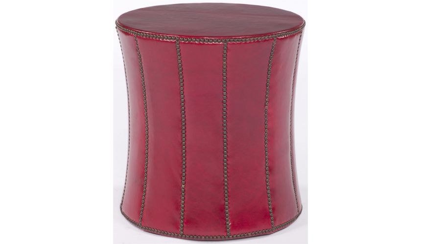 Luxury Leather & Upholstered Furniture Red Ottoman Table