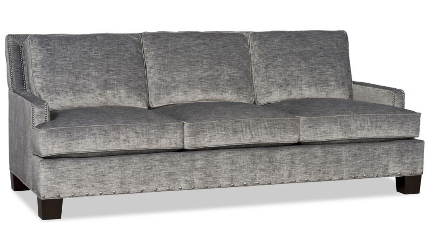 SOFA, COUCH & LOVESEAT Modern charcoal sofa with nailhead trim