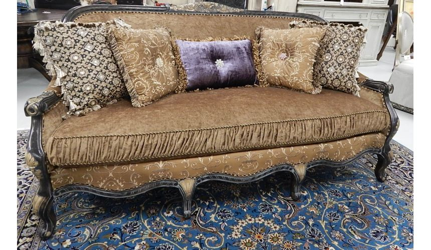 Luxury Leather & Upholstered Furniture 22 Victorian style sofa with a black and gold color theme.