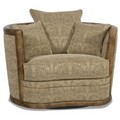 Embossed leather barrel style swivel chair