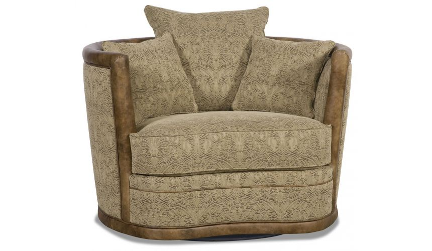 MOTION SEATING - Recliners, Swivels, Rockers Embossed leather barrel style swivel chair