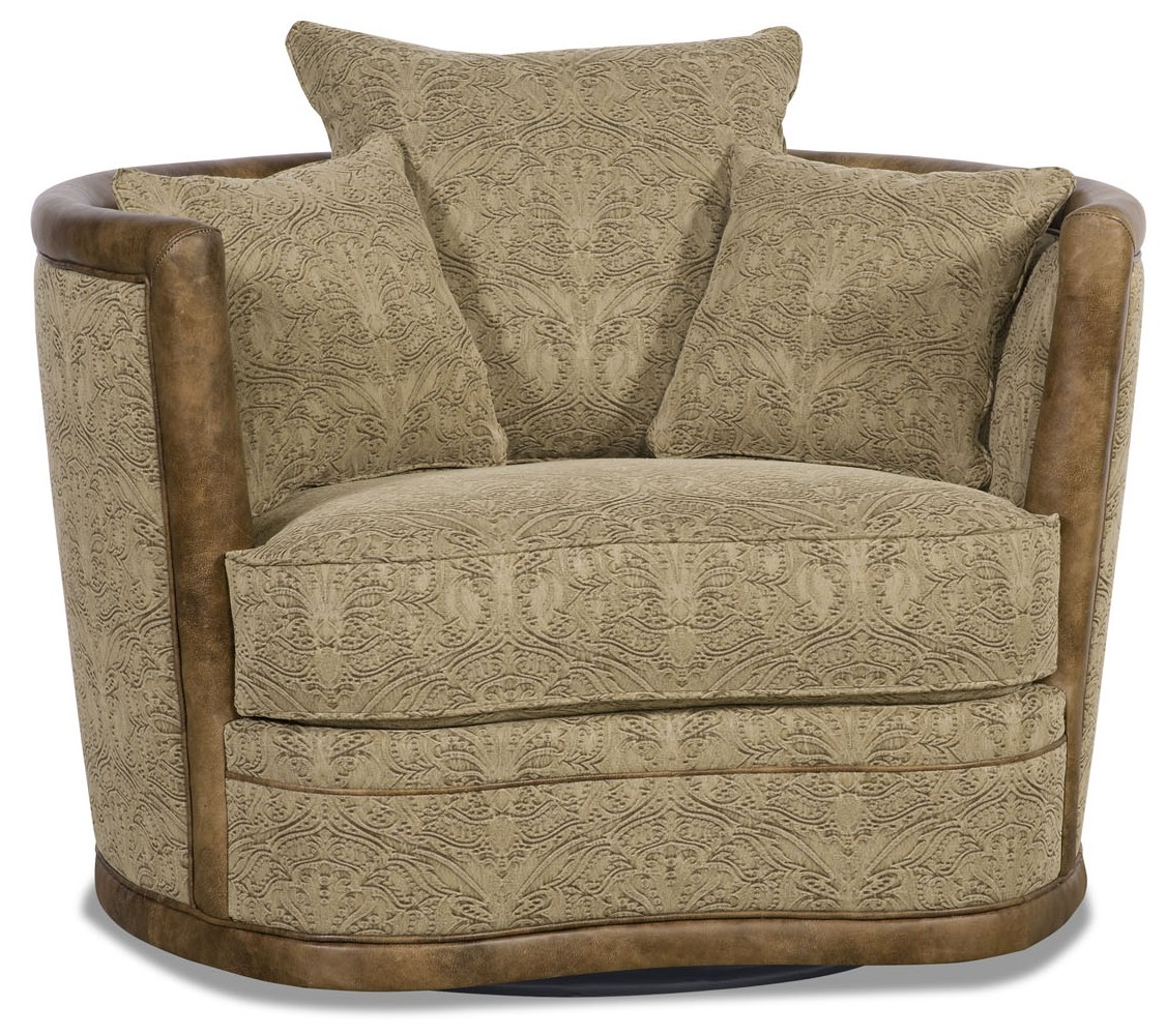 Superbe MOTION SEATING   Recliners, Swivels, Rockers Embossed Leather Barrel Style  Swivel Chair