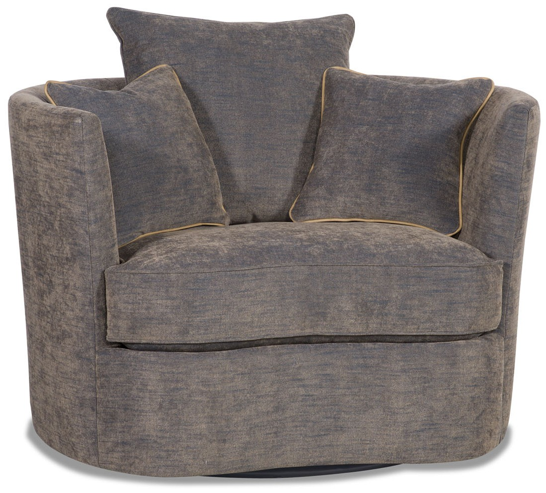 Superior Modern Charcoal Barrel Style Swivel Chair